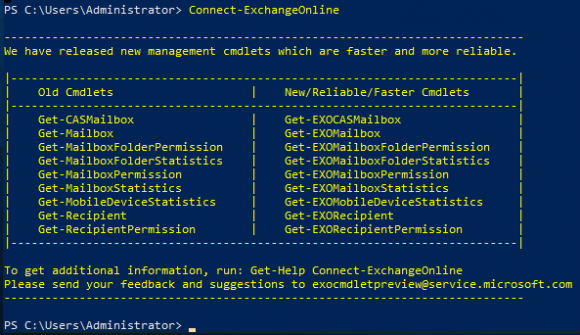 Connect to Exchange Online using the Connect-ExchangeOnline cmdlet