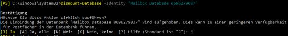 Exchange-Datenbank aushängen
