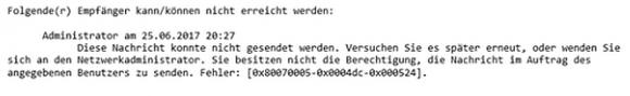 Versucht ein Benutzer unter einer Alias-Adresse Nachrichten zu versenden, dann setzt es diese Fehlermeldung.