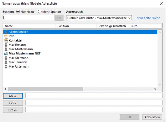 Die Alias-Adresse wird im globalen Adressbuch mit einem Gruppensymbol versehen