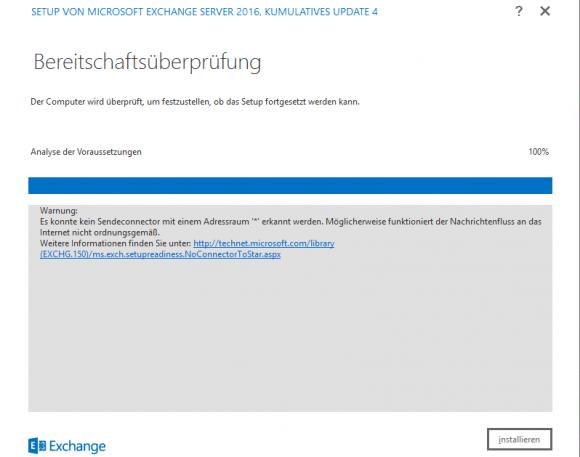 Die Bereitschaftsüberprüfung für das Exchange-Upgrade meldet einen Fehler.