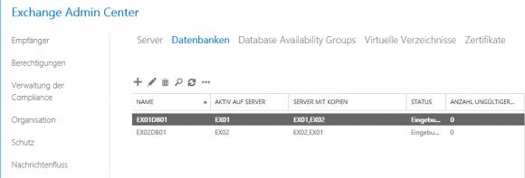 Nach der Rückkehr aus dem Wartungsmodus werden die Datenbanken auf dem aktualisierten Server gemountet.