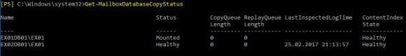 Status der Exchange-Datenbanken prüfen mit Get-MailboxDatabaseCopyStatus