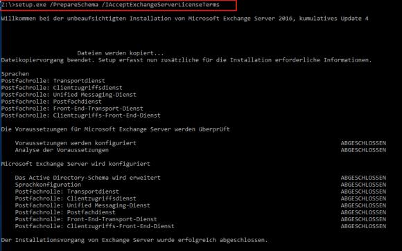 Für manche CUs muss das Schema des Active Directory angepasst werden.
