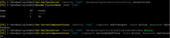 Der Exchange Server wird mit PowerShell aus dem Wartungsmodus zurückgeholt.