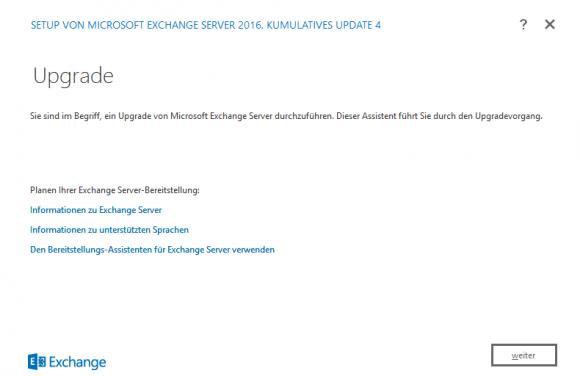 Ein Assistent führt duch das Upgrade von Exchange Server 2016.