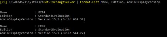 Nach dem Upgrade kann man die Version von Exchange über PowerShell ausgeben.