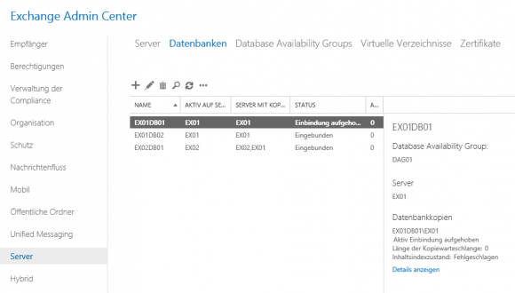 Die Datenbank EX01DB01 ist jetzt nur mehr auf EX01 eingebunden