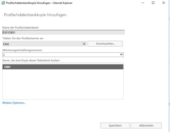 Neue Kopie der Mailbox-Datenbank auf dem zweiten Exchange-Server EX02 erstellen.