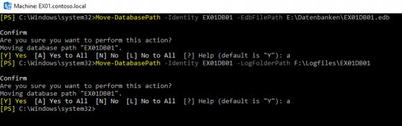 Pfade für die Datenbank und die Logfile ändern mit PowerShell
