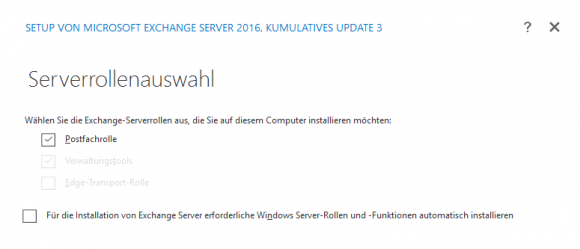 In den meisten Fällen beschränkt sich die Installation auf die Rolle des Postfach-Servers.