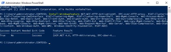 Die für Exchange 2016 erforderlichen Windows-Features lassen sich am einfachsten über PowerShell hinzufügen.