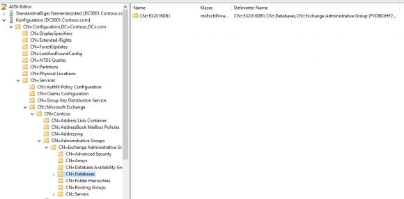 Datenbanken mit Hilfe des ADSI-Editors aus dem Active Directory entfernen.