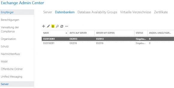 Datenbank des alten Servers über das Exchange Admin Center entfernen.
