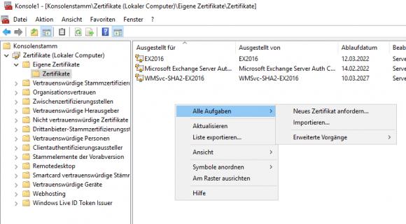 Zertifikate für Exchange mittels MMC-Snapin importieren