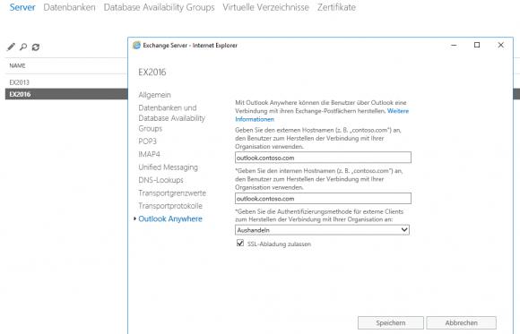 Authentifizierungseinstellungen für OWA in beiden Servern gleich konfigurieren.