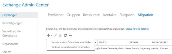 Postfächer in eine andere Exchange-Datenbank verschieben