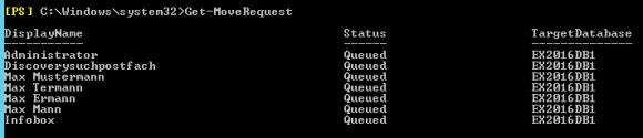 Status der Postfach-Migration anzeigen mit Get-MoveRequest