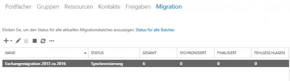 Nach dem Auslösen des Vorgangs zeigt das Admin Center den Fortschritt der Synchronisierung an.