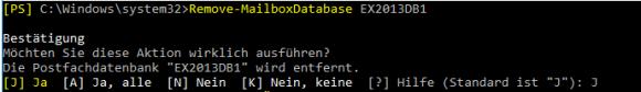 Datenbank des alten Exchange Servers löschen