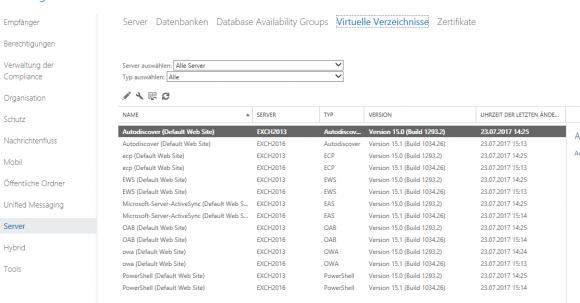 Interaktive Konfiguration der URLs über das Exchange Admin Center