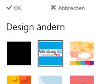 Die Vorschau für Designs in OWA enthält nun das neue Theme.
