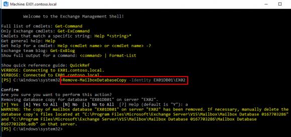 Kopie der Mailbox-Datenbank mit PowerShell entfernen