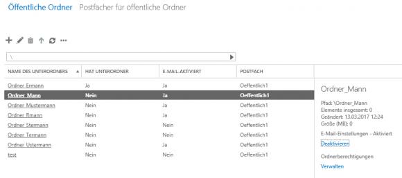 Die Übersicht zeigt, welche Ordner für den Mail-Empfang eingerichtet wurden.