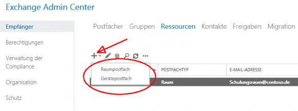 Auswahl zwischen Raum- und Gerätepostfach nach dem Klick auf das Plus-Icon
