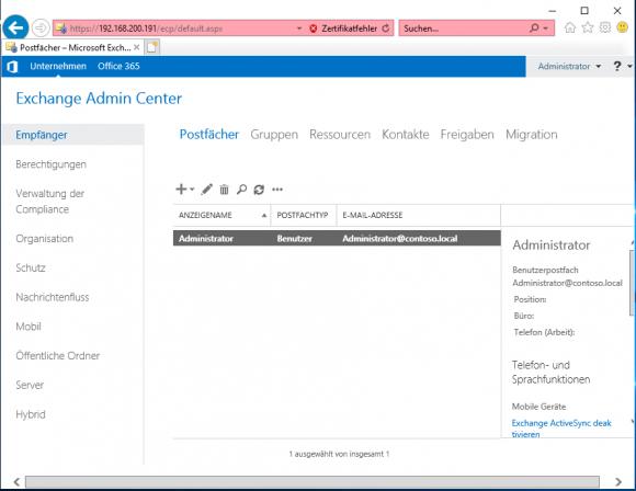 Erster Aufruf der des Exchange Admin Center nach der Installation auf Server Core.