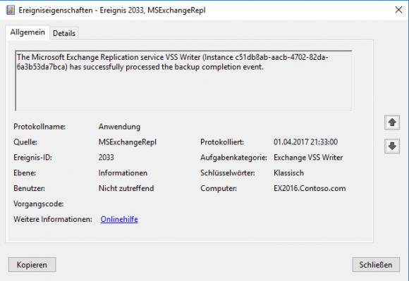 Das Eventlog zeigt auch, ob VSS gelaufen ist.