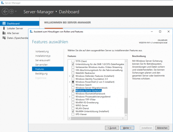 Windows Server-Sicherung als Feature hinzufügen im Server Manager
