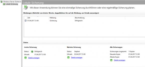 Die GUI der Server-Sicherung zeigt den Status des letzten Backups.
