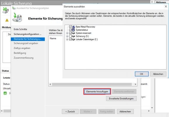 Das Laufwerk, das als Speicher für die Backups dient, sollte abgewählt werden.