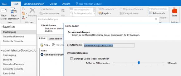 Der Cache-Modus für Exchange ist in Outlook standardmäßig eingeschaltet.