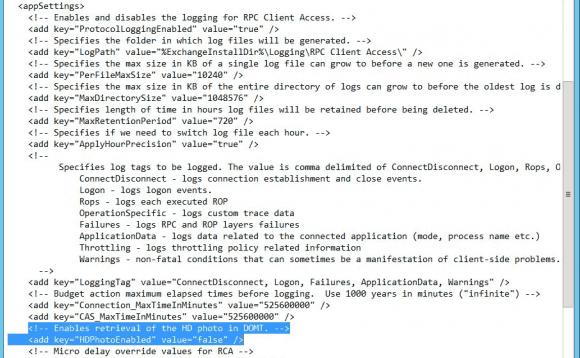 Editieren der Konfigurationsdatei Microsoft.Exchange.RpcClientAccess.Service.exe.config
