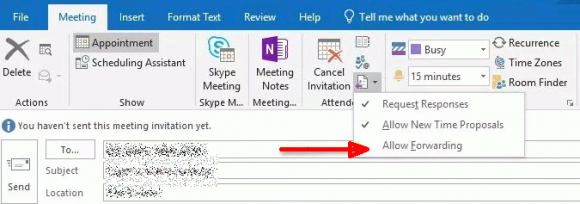Das Weiterleiten von Terminen lässt sich in Office 365 unterbinden, in Exchange 2019 aktuell noch nicht.