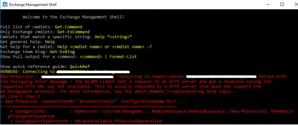 Die Exchange Management Shell bricht den Verbindungsaufbau mit einem Fehler ab.