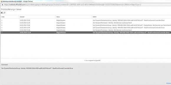 Die von der Exchange-Konsole erzeugten PowerShell-Befehle im Protokollierungs-Viewer