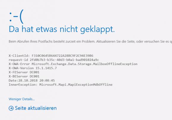 Das Starten von OWA scheitert mit dem Fehler Microsoft.Exchange.Data.Storage.MailboxOfflineException