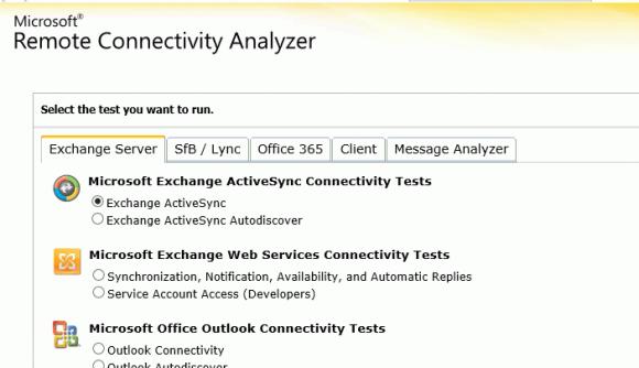 Der Remote Connectivity Analyzer prüft die Verbindung verschiedener Exchange-Services.