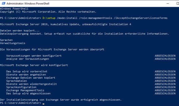 Run Setup for Exchange to install the management tools