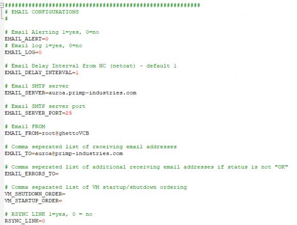 Wenn man sich über die Ergebnisse der Backups informieren lassen will, dann kann man hier den Versand von Mails konfigurieren.