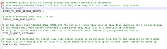 Herunterfahren von VMs vor dem Backup konfigurieren