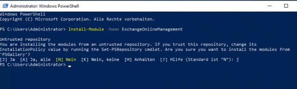 Install PowerShell module ExchangeOnlineManagement