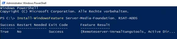 Hinzufügen der Windows-Features Media Foundation und RSAT für AD DS