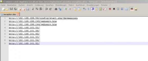 Die Site-List ist eine einfache Textdatei, die man in einem Editor bearbeiten kann.