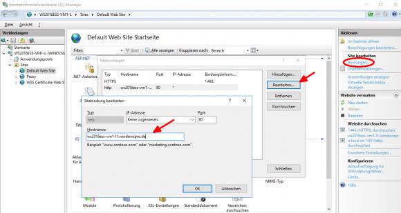 Bei den Bindungen prüfen, ob der Hostname eingetragen ist, hier am Beispiel der Default Web Site.