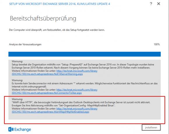 Bei der Migration von Exchange 2013 auf 2016 warnt das Setup, dass MAPI/HTTP deaktiviert ist.