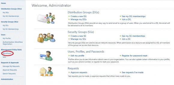 Definition von Workflows über das Web-basierte Portal